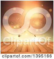 Clipart Of A Wood Deck With Butterflies Sparkles Flares And Gold Light Royalty Free Vector Illustration