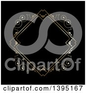 Clipart Of A Golden Diamond Frame On Black Royalty Free Vector Illustration