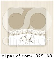 Clipart Of A Thank You Card Over Stripes Royalty Free Vector Illustration by KJ Pargeter