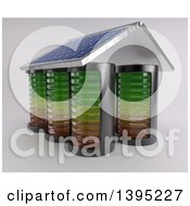 Clipart Of A 3d House Made Of Batteries With A Solar Panel Roof On An Off White Background Royalty Free Illustration