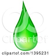 Clipart Of A Reflective Green Biofuel Or Slime Droplet Royalty Free Vector Illustration