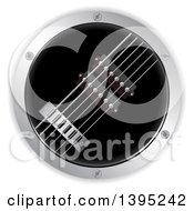 3d Round Air Guitar With A Metal Border On White