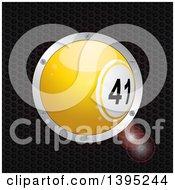 3d Yellow Bingo Ball In A Silver Frame Over Metal