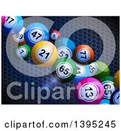 3d Colorful Bingo Balls And Flares Over Metal