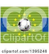 Soccer Pitch With A 3d Ball And Stars In The Center And European Flags On The Sides