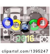 Clipart Of Olympics Rings Over Sepia World Flags And 2016 Royalty Free Vector Illustration