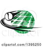 Clipart Of A Black And White Flying Tennis Ball Over A White Net And A Green Circle Royalty Free Vector Illustration