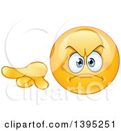 Clipart Of A Cartoon Mad Yellow Smiley Face Emoticon Emoji Pointing To The Left Royalty Free Vector Illustration