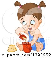 Clipart Of A Cartoon Happy Brunette Caucasian Girl Playing With Sand On A Beach Royalty Free Vector Illustration