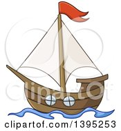 Clipart Of A Cartoon Sailboat With A Red Flag Royalty Free Vector Illustration