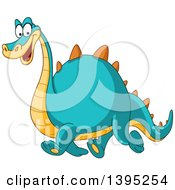 Clipart Of A Cartoon Happy Yellow And Blue Dinosaur Walking Royalty Free Vector Illustration by yayayoyo