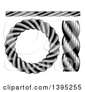 Clipart Of Black And White Woodcut Or Engraved Nautical Rope Design Elements Royalty Free Vector Illustration