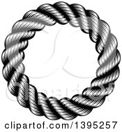 Clipart Of A Black And White Woodcut Or Engraved Round Nautical Rope Frame Royalty Free Vector Illustration by AtStockIllustration