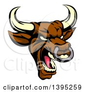 Clipart Of A Demonic Roaring Brown Bull Mascot Head Royalty Free Vector Illustration