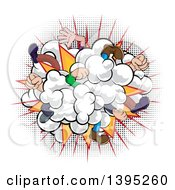 Clipart Of A Comic Styled Fighting Dust Cloud With Feet And Legs Over Halftone Royalty Free Vector Illustration