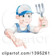 Clipart Of A Young Brunette White Male Gardener In Blue Holding A Garden Fork And Pointing Down Over A Sign Royalty Free Vector Illustration