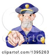 Clipart Of A Tough And Angry White Male Police Officer Pointing Outwards Royalty Free Vector Illustration by AtStockIllustration