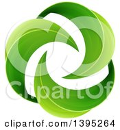 Spiraling Circle Of Green Leaves