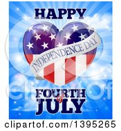 Happy Independence Day Fourth Of July American Flag Heart Over Rays In A Sky