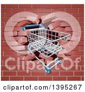 Clipart Of A Shopping Cart Crashing Through A 3d Brick Wall Royalty Free Vector Illustration