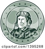 Clipart Of A Retro World War One Male Pilot Aviator Smiling In A Circle With Stars Royalty Free Vector Illustration