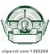 Clipart Of A Retro World War One Male Pilot Aviator Looking Up Over A Wing Banner And Biplane In Green Tones Royalty Free Vector Illustration