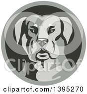 Clipart Of A Retro Rottweiler Head In A Circle Royalty Free Vector Illustration by patrimonio