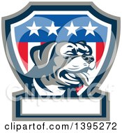 Clipart Of A Retro Panting Rottweiler Head In An American Shield With A Blank Banner Royalty Free Vector Illustration