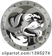 Clipart Of A Retro Panting Rottweiler Head In A Circle With Screws Royalty Free Vector Illustration