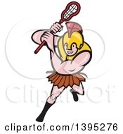 Clipart Of A Cartoon Gladiator Lacrosse Player Wearing Spartan Helmet And Striking Royalty Free Vector Illustration by patrimonio