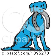 Clipart Of A Retro Blue Dog Sitting With A Horseshoe In His Mouth Royalty Free Vector Illustration