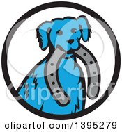 Clipart Of A Retro Blue Dog Sitting With A Horseshoe In His Mouth Inside A Black And White Circle Royalty Free Vector Illustration by patrimonio