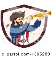 Clipart Of A Retro Cartoon Male Pirate Captain Viewing Through A Spyglass Emerging From A Brown And Beige Shield Royalty Free Vector Illustration by patrimonio
