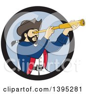 Clipart Of A Retro Cartoon Male Pirate Captain Viewing Through A Spyglass Emerging From A Black And Blue Circle Royalty Free Vector Illustration by patrimonio