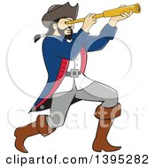 Clipart Of A Retro Cartoon Male Pirate Captain Viewing Through A Spyglass Royalty Free Vector Illustration by patrimonio