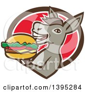 Clipart Of A Retro Donkey Holding A Cheeseburger And Emerging From A Brown White And Red Oval Royalty Free Vector Illustration by patrimonio