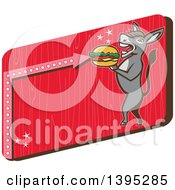 Clipart Of A Retro Donkey Standing Upright And About To Take A Bite Out Of A Cheeseburger On A Red Sign Royalty Free Vector Illustration by patrimonio