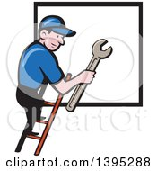 Clipart Of A Retro Cartoon White Handy Man Holding A Spanner Wrench And Climbing A Ladder To A Window Or Sign Royalty Free Vector Illustration