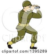 Retro Cartoon World War One American Soldier Looking Through The Binoculars