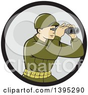 Clipart Of A Retro Cartoon World War One American Soldier Looking Through The Binoculars In A Black And Gray Circle Royalty Free Vector Illustration
