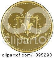 Clipart Of A Retro Round Fleur De Lis Coat Of Arms Shield Royalty Free Vector Illustration by patrimonio