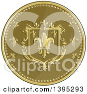 Retro Round Fleur De Lis Coat Of Arms Shield