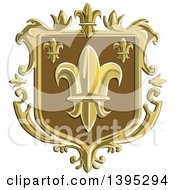 Clipart Of A Retro Fleur De Lis Coat Of Arms Shield Royalty Free Vector Illustration by patrimonio
