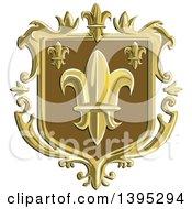 Clipart Of A Retro Fleur De Lis Coat Of Arms Shield Royalty Free Vector Illustration by patrimonio