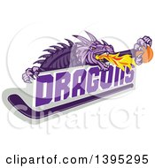Clipart Of A Retro Purple Fire Breathing Dragon Holding A Ball Over Text And Hockey Stick Royalty Free Vector Illustration