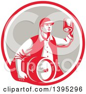 Clipart Of A Retro Man Carrying A Beer Keg And Holding Up A Mug Of Beer In A Red White And Taupe Circle Royalty Free Vector Illustration