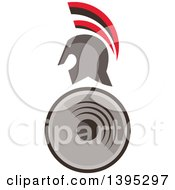 Clipart Of A Retro Spartan Warrior Helmet Over A Shield Royalty Free Vector Illustration by patrimonio