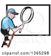 Clipart Of A Retro Cartoon Caucasian Handy Man On A Ladder Holding A Magnifying Glass Over A Billboard Sign Royalty Free Vector Illustration