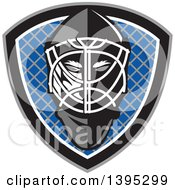 Clipart Of A Retro Ice Hockey Goalie Helmet Over A Net In A Gray Black White And Blue Shield Royalty Free Vector Illustration
