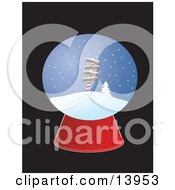 Christmas Snow Globe With Directional Signs For The North Pole New York Paris And London Clipart Illustrati